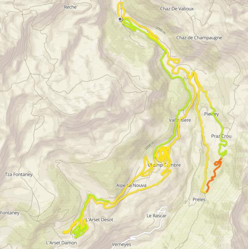 ski fond piste grand tor 30 km St Barthelemey